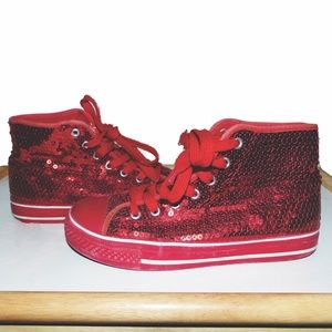 Shoes - red canvas converse style sequin sneakers shoes
