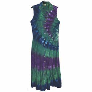 Dresses & Skirts - green & purple vintage tye dye shirt dress