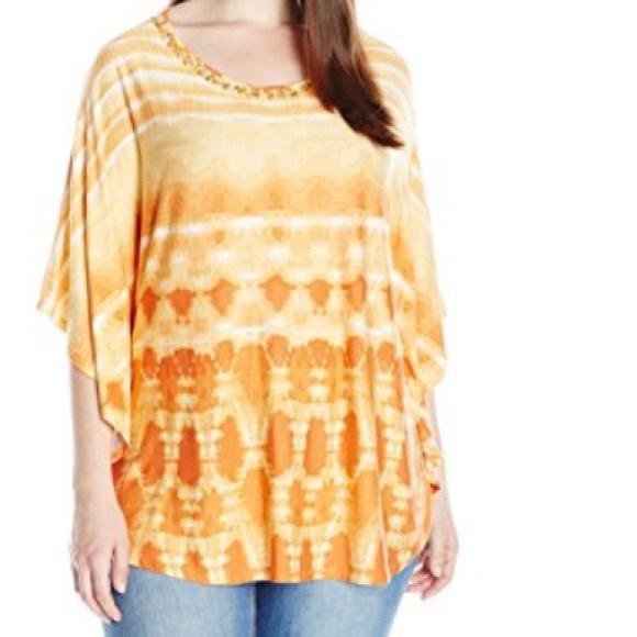 567f964853e PLUS 1X Ruby Rd. Tie Dye Embellished Flowy Top
