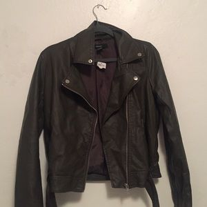 Olive Green Faux Leather Jacket