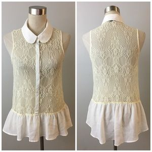 Miss Chievous Tops - Lace Button Up Sleeveless Collared Blouse