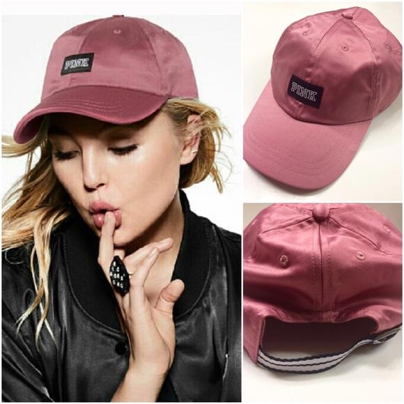a099fca7449a1 Soft Begonia Pink Satin Varsity Baseball Hat Cap