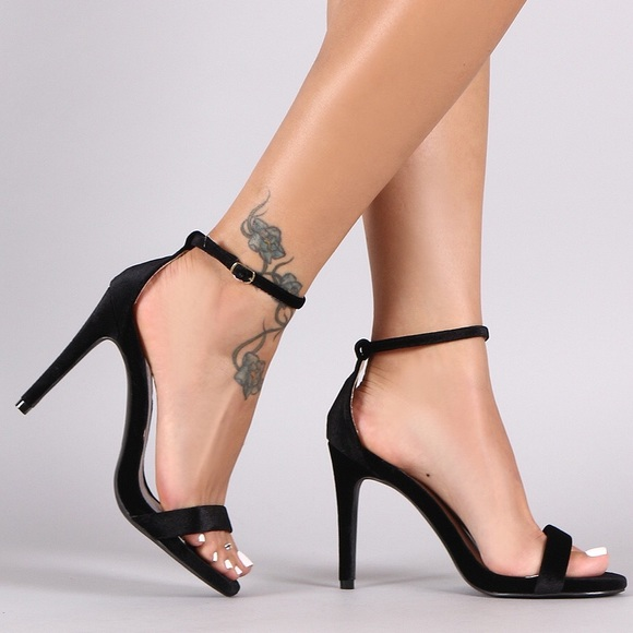 53% off Qupid Shoes - Black Velvet Essential One Band Ankle Strap ...