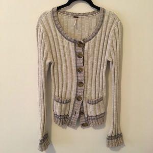 Free People Sweaters - FREE PEOPLE Grey Large Ribbed Cardigan Sweater