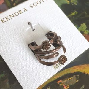 Kendra Scott Jewelry - NWT Kendra Scott Warren Chocolate Drusy Midi Rings