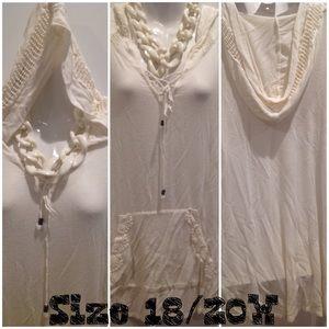 Cato Tops - CaTo Cream Crochet Hooded Top ~ 18/20W ~ EUC