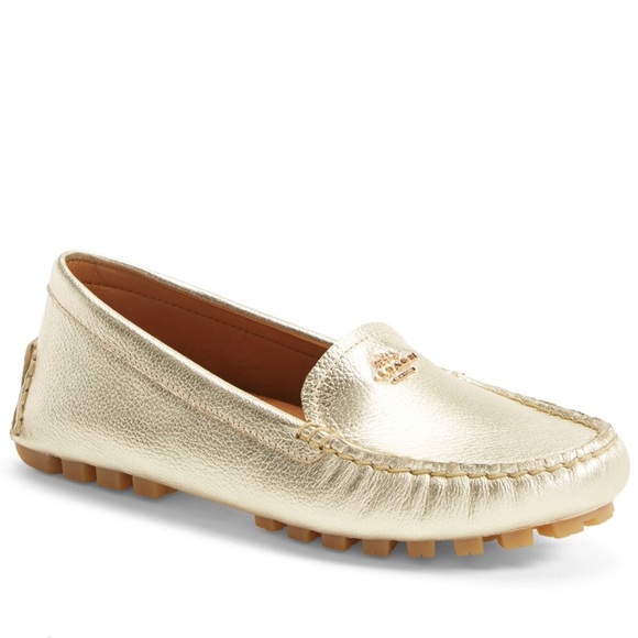 Coach Shoes   New Gold Leather Loafers   Poshmark 7e8bd093a8a