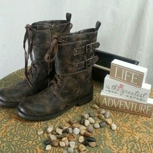 Massini Shoes - Distressed Moto Boot NWT