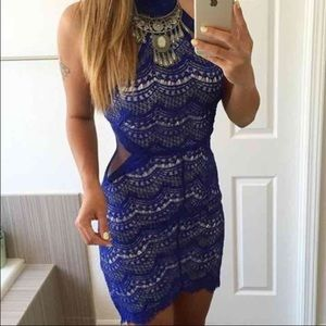 Lace dark blue dress