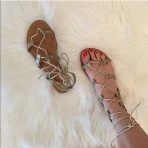 Shoes - Bronze Gold Lace Up Gladiator Sandals