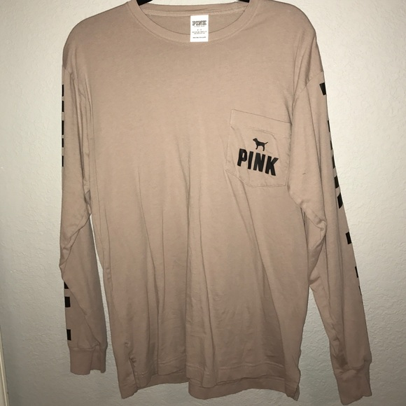 PINK Victoria's Secret - Tan Long Sleeve Campus Shirt from ...