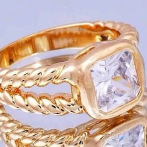 Jewelry - New gold plated sz 5 Asher cut ring