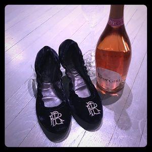 Ralph Lauren Purple Label Shoes - Ralph Lauren purple velvet insignia ballet flats
