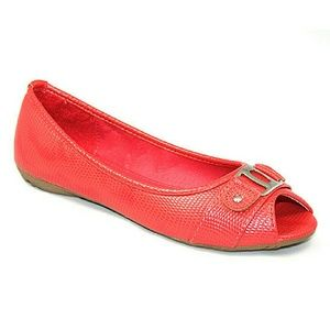 Tory K  Shoes - Women Open Toe Ballerina Flats, b-1338, Coral