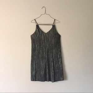 one clothing Dresses & Skirts - Silver and black pleated slip dress