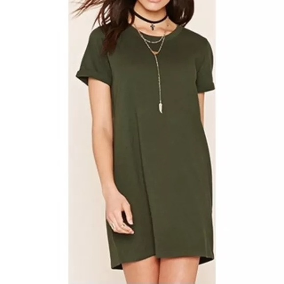 Forever 21 Olive Green T shirt Dress NWT