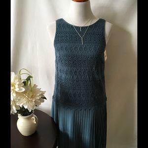 Loft dress with lace overlay & pleats