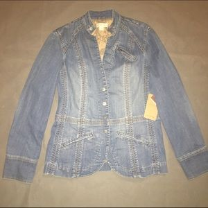 Coldwater Creek Snap Front Denim Jacket 8 NWT