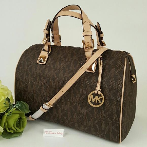 5c22bedab9edc ... 50% off michael kors mk grayson brown satchel purse large b21b1 ebd14