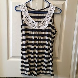 robins nest Tops - Maternity Tank Top navy blue and white