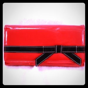 Handbags - Red Patent Style Trifold Wallet