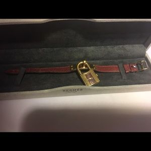 Hermes Accessories - Hermes Rouge and Gold Plated Kelly Watch