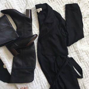 Cloth & Stone Black Drapey Trench Coat