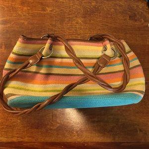 Multi-colored woven handbag