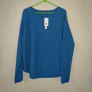 Vince Blue Wool Cashmere Ribbed Sweater