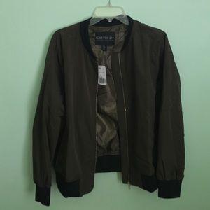 Forever 21  Plus Green Bomber Jacket