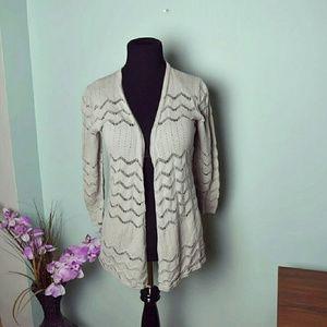 Sweaters - Beautiful Tan Zigzag Designed Cardigan