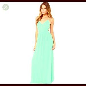 Gorgeous Lulus Backless Mint Maxi Dress