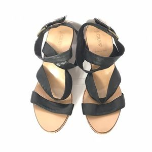 J. Crew Black Leather Ankle Strap Wedge Sandals