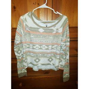 Aztec Print Loose Fitting Long Sleeve Shirt