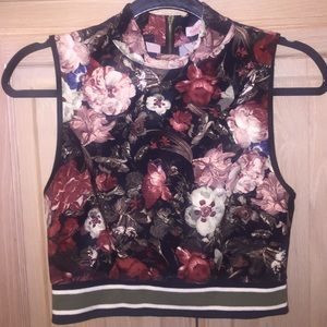 Lucca Couture Tops - Lucca Turtle Neck Floral Crop Top