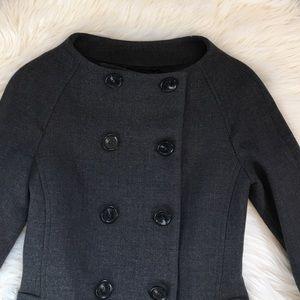Zara Woman Gray Double Breasted Wool Coat