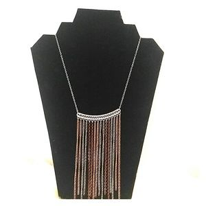 NWT tri colored metal tassel necklace
