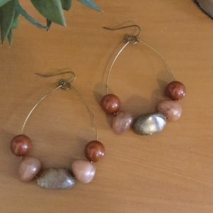 Brown Stones Hoop Earrings