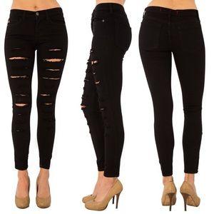 Pants - JULIETTE distressed skinnies - BLACK