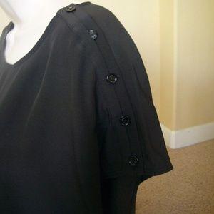 26406f42 Vince Tops   Black Silk Button Shoulder Blouse Top Tee   Poshmark