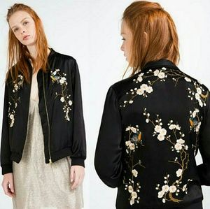 61810e5a3 Zara floral embroidered bomber jacket NWT