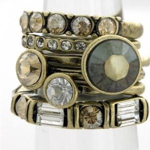 Stacking Antiqued Burnished Brass & Crystal Rings