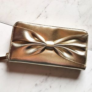 Merona Handbags - Gold Bow Wallet (Wrist Strap Included)