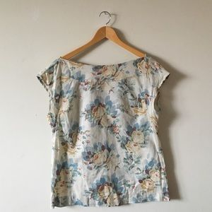 Anthropologie Linen Floral Boatneck