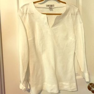 Brooks brothers white linen tunic