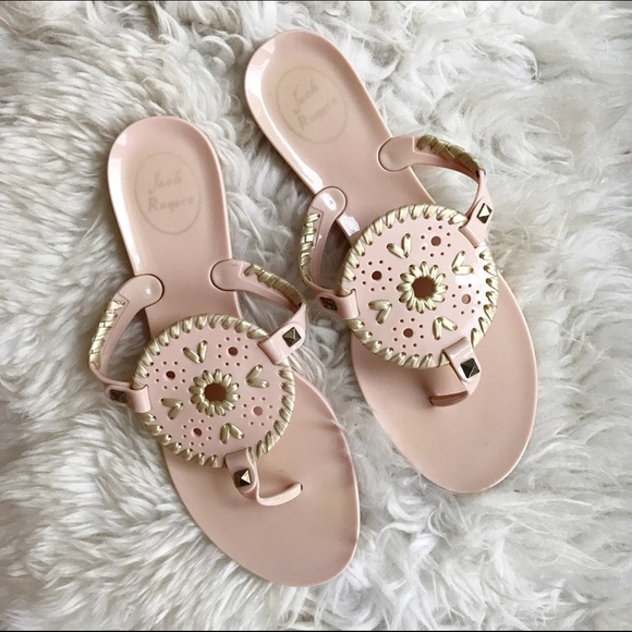 09427101f54c Jack Rogers Shoes - Blush Pink   Gold Georgica Jelly Flip Flop