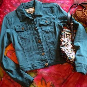 Hot Kiss Jackets & Blazers - Hot Kiss turquoise jean jacket size M