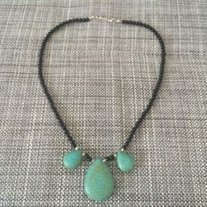 💌 Onyx and Turquoise Stone Necklace