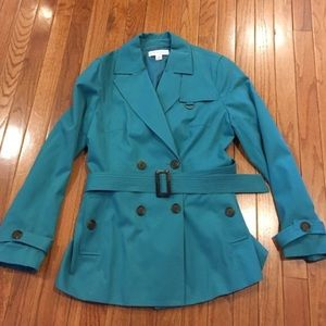 Petite Sophisticate Jackets & Blazers - Petite Sophisticate blue trench coat