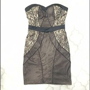 Bebe black and nude lace dress XS